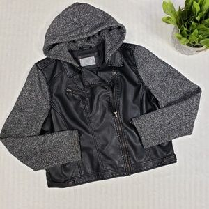 Xhileration faux leather moto sweater jacket